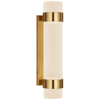 Barton Small Bath Sconce in Natural Brass with Etched Crystal