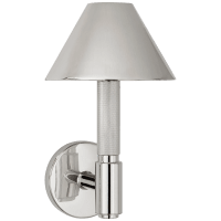 Barrett Small Single Knurled Sconce in Polished Nickel with Polished Nickel Shades