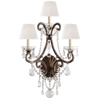 Adrianna Triple Sconce in Antique Gild with Antiqued Crystals and Silk Shades