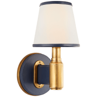 Riley Single Sconce in Natural Brass and Navy Leather with Leather Trimmed Linen Shades