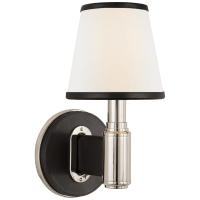 Riley Single Sconce in Polished Nickel and Chocolate Leather with Leather Trimmed Linen Shades