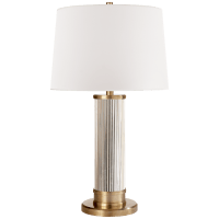Allen Table Lamp in Natural Brass and Glass Rods with White Paper Shade