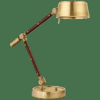 Alaster Task Lamp in Natural Brass and Natural Rift Oak