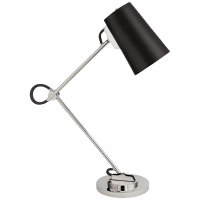 Benton Adjustable Desk Lamp in Polished Nickel with Chocolate Leather Shade