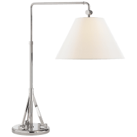 Brompton Swing Arm Table Lamp in Polished Nickel with Linen Shade