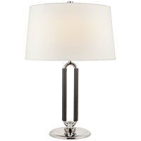 Cody Medium Table Lamp in Polished Nickel and Chocolate Leather with Linen Shade