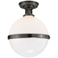 McCarren Large Flush Mount in Bronze with White Glass