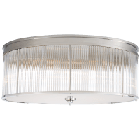Allen Grande Flush Mount in Polished Nickel and Glass Rods with White Glass