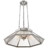 Rivington Medium Eight-Paneled Chandelier in Polished Nickel with Clear Ribbed Glass