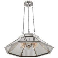 Rivington Medium Eight-Paneled Chandelier in Polished Nickel with Ribbed Mirror