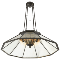 Rivington Large Ten-Paneled Chandelier in Bronze with Clear Glass