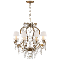 Adrianna Small Chandelier in Gilded Iron and Crystal with Silk Shades