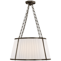 Windsor Large Hanging Shade in Bronze with Boxpleat Silk Shade