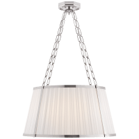 Windsor Large Hanging Shade in Polished Nickel with Boxpleat Silk Shade