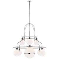 McCarren Double Tier Chandelier in Polished Nickel with White Glass