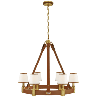 Riley Medium Ring Chandelier in Natural Brass and Saddle Leather with Leather Trimmed Linen Shades