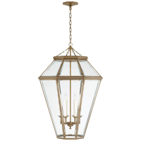 Edmund Large Lantern in Natural Brass with Clear Beveled Glass