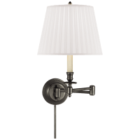 Candlestick Swing Arm in Bronze with Silk Shade