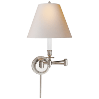 Candlestick Swing Arm in Polished Nickel with Natural Paper Shade