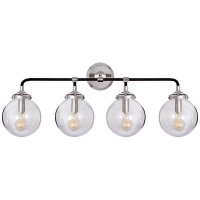 Bistro Four Light Bath Sconce in Polished Nickel and Black with Clear Glass