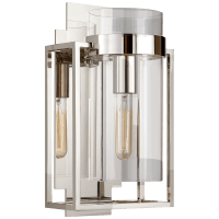Presidio Caged Small Sconce in Polished Nickel with Clear Glass
