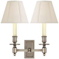 French Double Library Sconce in Antique Nickel with Linen Shades