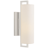 Bowen Medium Sconce in Polished Nickel with Linen Shade