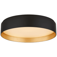 Shaw Large Flush in Matte Black and Gild with White Glass