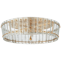 Cadence Large Single-Tier Flush Mount in Hand-Rubbed Antique Brass with Antique Mirror