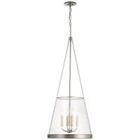 """Reese 20"""" Pendant in Polished Nickel with Clear Restoration Glass"""