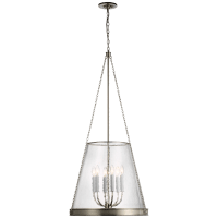 "Reese 22"" Pendant in Polished Nickel with Clear Glass"