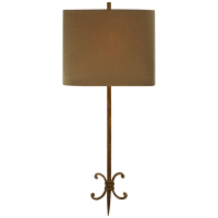 Roswell Sconce in Natural Rust with Taupe Linen Shade