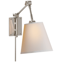 Graves Pivoting Sconce in Polished Nickel with Natural Paper Shade