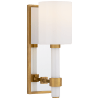 Maribelle Single Sconce in Hand-Rubbed Antique Brass with White Glass