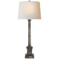 Josephine Table Lamp in Sheffield Silver with Natural Paper Shade