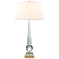 Leigh Table Lamp in Crystal and Gild with Silk Shade
