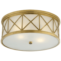 Montpelier Large Flush Mount in Hand-Rubbed Antique Brass with Frosted Glass