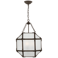 Morris Small Lantern in Antique Zinc with Frosted Glass