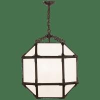 Morris Medium Lantern in Antique Zinc with White Glass