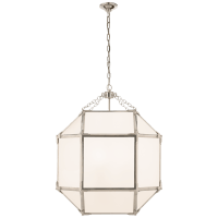Morris Medium Lantern in Polished Nickel with White Glass
