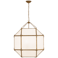 Morris Large Lantern in Gilded Iron with White Glass