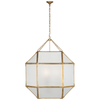Morris Grande Lantern in Gilded Iron with Frosted Glass