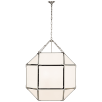 Morris Grande Lantern in Polished Nickel with White Glass
