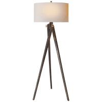 Tripod Floor Lamp in Tudor Brown with Natural Paper Shade