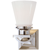 New York Subway Single Light in Polished Nickel with White Glass