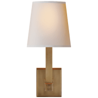 Square Tube Single Sconce in Hand-Rubbed Antique Brass with Natural Paper Shade