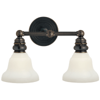Boston Functional Double Light in Bronze with White Glass