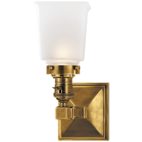 Boston Square Single Light in Hand-Rubbed Antique Brass with Frosted Glass