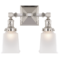 Boston Square Double Light in Polished Nickel with Frosted Glass