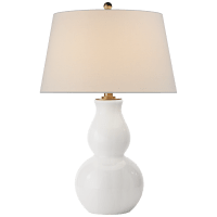 Open Bottom Gourd Table Lamp in White Glass with Linen Shade